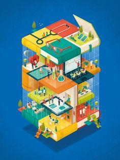 Cover for John Hopkins Nursing magazine. Andrea De Santis #andreadesantis #illustration #conceptual #book #school #reading #health #educational #design #building #workspace