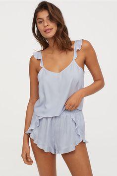 Pyjama strappy top and shorts - Light blue/White striped - Ladies Summer Pajamas, Cute Pajamas, Holiday Pajamas, Satin Pajamas, Pyjamas, Onesie Pajamas, Sleepwear Women, Loungewear, Pijamas Women