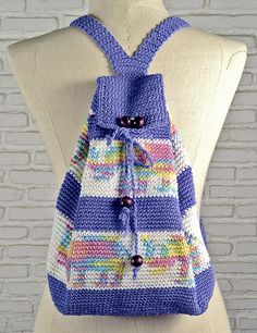 100 % cotton Crochet backpack Casual woman bag by NikieArt on Etsy