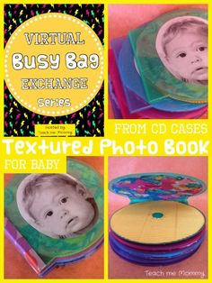"""It's here! The Busy Bag Exchange Series! Today myself and Betsy from BPhoto Art are """"swapping"""" out two ideas for keeping Baby occupied while traveling, in church or waiting at the doctor's office. (Click on the link to see what she made!) I made a textured photo book from CD cases. Babies love familiar faces, …"""