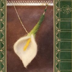 needle felted calla lily necklace