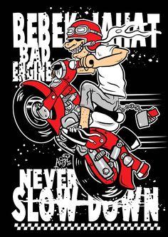 honda c70 cartoon...BEBEK JAHAT BAD ENGINE NEVER SLOW DOWN..