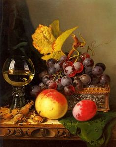 Edward Ladell A Still Life of Black Grapes, a Peach, a Plum, Hazelnuts, a Met… A genuine a still life of black grapes, a peach, a plum, hazelnuts, a metal casket and a wine glass on a carved wooden ledge by edward ladell 100% hand-painted oil painting reproduction on canvas, made by a real artist, brush stroke by brush stroke. No digital or printing techniques are used. You are commissioning a real painting. Edward Ladell http://www.buybestwine.com/edward-ladell-a-still-life-of-b..
