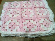 Manta lã rosa e branco