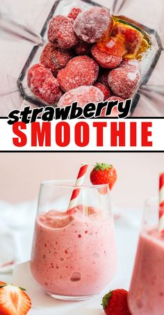 This simple Strawberry Smoothie has just 4 ingredients and is ready in 5 minutes! Perfect for satisfying that sweet tooth (while staying healthy). #smoothierecipes #healthyrecipes #amandascookin Best Breakfast Recipes, Brunch Recipes, Breakfast Healthy, Fruit Smoothie Recipes, Strawberry Smoothie, Drinks Alcohol Recipes, Yummy Drinks, 4 Ingredients, Food Dishes