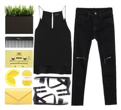 """""""Black and Yellow"""" by makeupgoddess ❤ liked on Polyvore featuring Balenciaga, Forever 21, rag & bone, Pelle, CASSETTE, Sephora Collection, women's clothing, women, female and woman"""