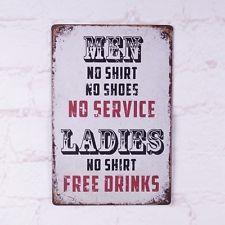 No Service Free Drinks Metal Tin Sign Retro Bar Home Pub Wall Decor