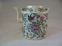 Chinese Canton Famille Rose porcelain teapot birds butterflies flowers no lid by WaverlyNY14892 on Etsy https://www.etsy.com/listing/184497859/chinese-canton-famille-rose-porcelain