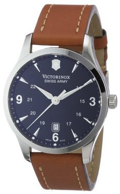 Victorinox Swiss Army Men's 241475 Alliance Black Dial Brown Strap Watch Victorinox Swiss Army,