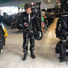Bikers, Hypno, and Leather Bike Suit, Motorcycle Suit, Motorcycle Leather, Mens Leather Pants, Tight Leather Pants, Nylons, Latex Men, Biker Gear, Biker Style