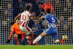 ThePotters striker brought down a long ball by Xherdan Shaqiri and fired past Brighton goalkeeper Mathew Ryan
