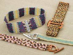Seed Bead Big Finish | Artbeads.com create peyote stitch bracelets and they can be finished in so many ways. Cynthia shows off the many different clasps you can use with seed bead bracelets, from D links and multi-strand clasps to E hooks.