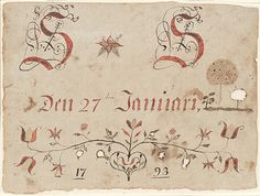 Drawing (Initials with Date and Flowers)  Pennsylvania, 1/27/1793