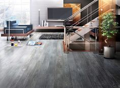 This is an Oil Finish flooring made by Teka. The line is called Antique Alaska. The grey is due to a process called fumed smoke with grey wa...