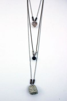 Triple Specimen Layering Necklace by ShopHedonist on Etsy, $55.00 #boho #crystal #mineral