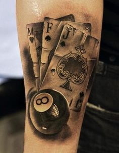 , tattoos im jap. thx (tattoo-kompletter-arm, tattoo old school Trendy Tattoos, Tattoos For Women, Tattoos For Guys, Cool Tattoos, Tatoos, Rock N Roll Tattoo, Tattoo Arm Mann, Playing Card Tattoos, Tattoo Ideas