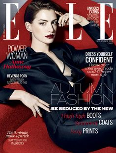 Anne Hathaway in a sleek #EmporioArmani tux on the cover of ELLE UK November