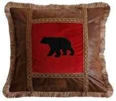 Applique Bear on Red Pillow Rustic Cabin Lodge Brush Fringe Free SHIP   eBay
