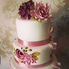 3 tier rose and hydrangea theme cake with hand painting and sugarcraft
