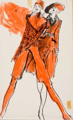 Fashion illustration by Kenneth Paul Block (1925–2009), 1971, design by Leo Narducci and  jacket by Valentino,  Fairchild Publications.