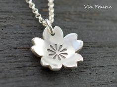 Sakura necklace Sakura blossom pendant 100% Handmade Sakura