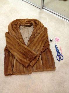Fur coat into fur vest, coat to vest, vintage fur coat, DIY, step by step, do it yourself, vintage thrifted treasure, ecofashion