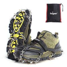 Fishing Jogging TOPmountain Anti Slip Grips Crampons-Rubber Spikes Anti Slip 10-Stud Crampons Slip-on Stretch Footwear,for Hiking Walking Climbing