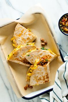 This easy breakfast quesadilla recipe is so delicious! Serve these protein-rich quesadillas stuffed with scrambled eggs, beans and herbs for breakfast, brunch or dinner. Recipe as written yields 1 folded quesadilla; You can mak Breakfast Party, Healthy Breakfast Meal Prep, Mexican Breakfast Recipes, Vegetarian Breakfast, Brunch Recipes, Mexican Food Recipes, Breakfast Ideas, Healthy Brunch, Vegetarian Protein