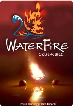 WaterFire Columbus:  in downtown Columbus the flames reflect on the waters of the Scioto River. Audience members gather throughout the summer at Genoa Park for an evening of natural art, music and activities.