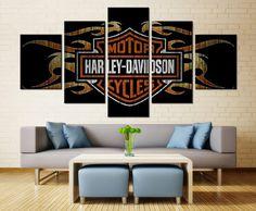 Harley Davidson Canvas Print 5 Panel / Motorcycle Canvas Print