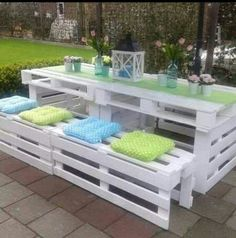 White patio furniture. Put a piece of plexi glass on the top