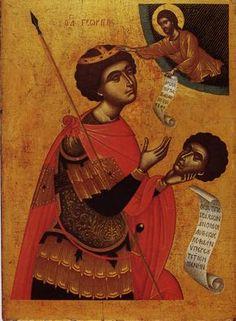 George with Severed Head, 16 century icon Orthodox Catholic, Catholic Saints, Byzantine Icons, Byzantine Art, Religious Icons, Religious Art, Saints And Soldiers, Saint George And The Dragon, Russian Icons