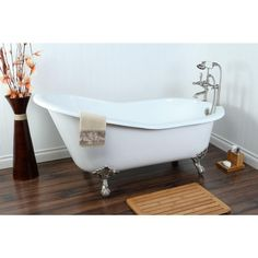 Aqua Eden 5 ft. Cast Iron Satin Nickel Claw Foot Slipper Tub with 7 in. Deck Holes in White - HVCT7D653129B8 - The Home Depot
