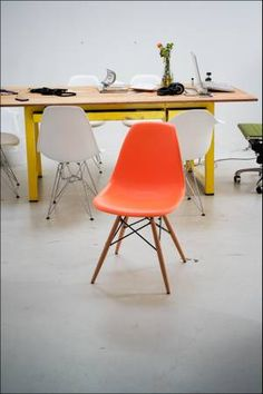 Los Angeles New Eames Accent Orange Side Chair Wood Legs Mid Century Modern