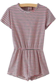 Stripe Elastic Waist Short Sleeve Romper RED: Jumpsuits & Rompers | ZAFUL