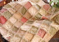 coral chenille quilts   Shabby Autumn Roses Rag Quilt Fall Cottage by SunflowerRagWorks