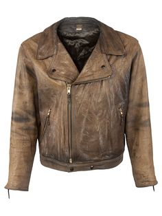 Vintage Champlain Perfecto Style Jacket - L, Regular Fit, size L. Colour Washed Brown and made from 100% Pig Leather with Black Quilted Lining and and YKK Front Zip fastening.