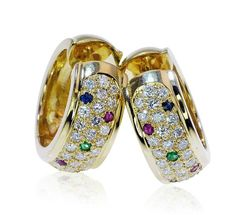 Earring Brilliant Sapphire Ruby Gold  Brillant-Ohrringe Goldcreolen  Brillanten Smaragd Saphir Rubin