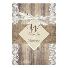 Rustic Wedding, Beige White lace Wood and burlap hessian, Country Marriage, Hessian Invitation $2.16 per card