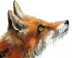 Fox watercolor painting Woodland Fox Print by MiraGuerquin