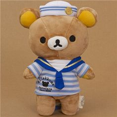 Rilakkuma plush toy brown bear as sailor kawaii