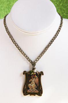 Guardian Angel Antique Brass and Swarovski Crystal Necklace by SparkleBunnyFrouFrou on Etsy
