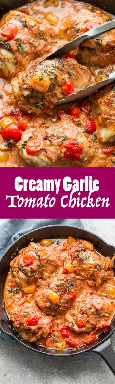 Creamy Garlic Tomato Chicken is going to be perfect for you and your family at dinner tonight!