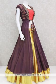 Trendy Handworked Jacket Lehenga From Palkhi Fashion : Palkhi fashion wine jacket lehenga suit enriched with maroon pure silk blouse with mustard pure silk full flair lehenga.Indian jacket lehenga with trendy style. Indian Fashion Dresses, Indian Gowns Dresses, Dress Indian Style, Indian Designer Outfits, Indian Outfits, Designer Dresses, Indian Wear, Indian Clothes, Designer Sarees