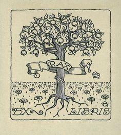 ≡ Bookplate Estate ≡ vintage ex libris labels︱artful book plates - peace tree