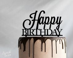 Happy Birthday Laser Cut Acrylic Cake Topper by LAVISHLASER                                                                                                                                                     More
