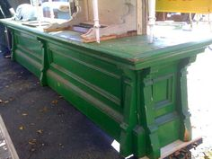 Be still, my heart! This kelly green antique store counter is perfect for a kitchen island!