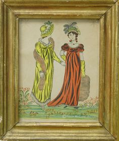"""""""Fashionable Ladies"""" attributed to Elizabeth Glaser. Exhibited at """"Reflections of 19th Century America: Folk Art From the Collection of Sybil and Arthur Kern"""", Museum of Our National Heritage in Lexington, MA.  From my website"""