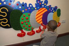 Tactile Mural by Mike Ayres Design Sensory Wall, Sensory Rooms, Sensory Boards, Baby Sensory, Autism Activities, Sensory Activities, Toddler Activities, Preschool Rooms, Preschool Lesson Plans