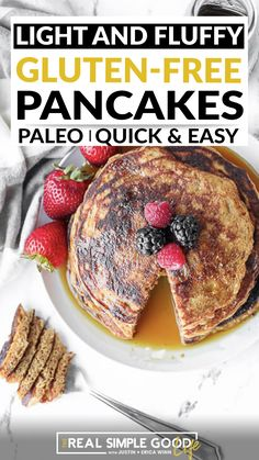 #ad The weekend is calling! Make a batch of these light and fluffy gluten free pancakes for the family! We used coconut flour and tapioca flour to keep them grain free, and we offer an easy swap to make them vegan too. You'll have a beautiful stack to serve up in just about 15 minutes. And you can top them with all your favorite pancake toppings. | @realsimplegood @bobsredmill #bestpaleopancakesrecipe #paleofathersdaybreakfast #healthypancakesrecipe Gf Pancake Recipe, Pancake Toppings, Pancake Recipes, Breakfast For Dinner, Healthy Breakfast Recipes, Breakfast Ideas, Gluten Free Pancakes, Gluten Free Breakfasts, Real Food Recipes